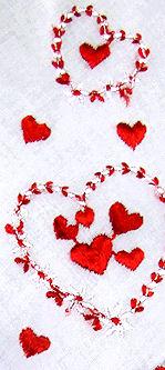 vintage valentine hanky  falling hearts
