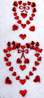 vintage valentine hanky with hearts