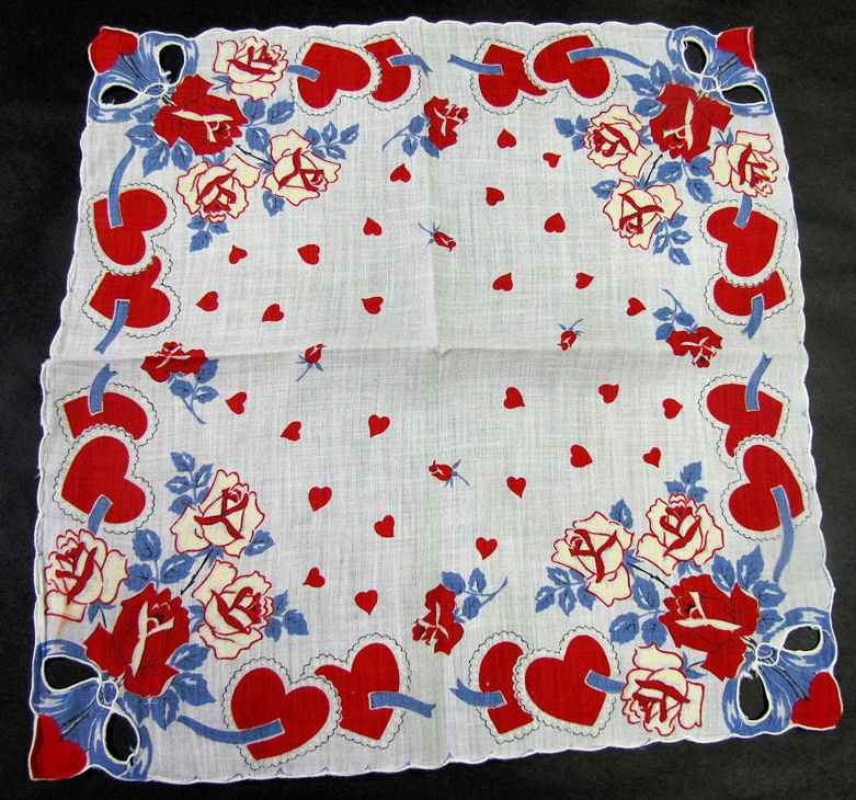 vintage antique valentine hanky hearts and roses