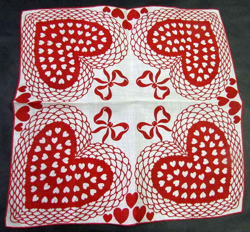 vintage antique valentine hanky hearts and ribbons print