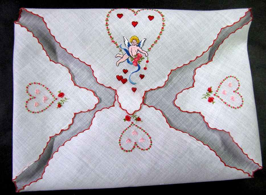 vintage antique valentine hanky hearts and cupid