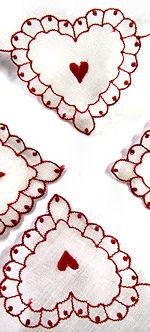 vintage valentine hanky hearts