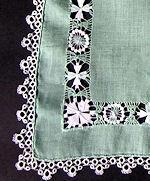 vintage green hankie handmade lace