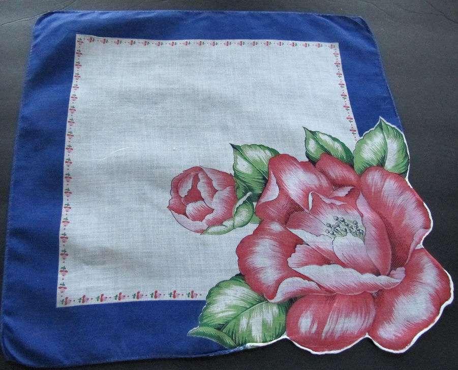 vintage antique floral print single blossom hanky