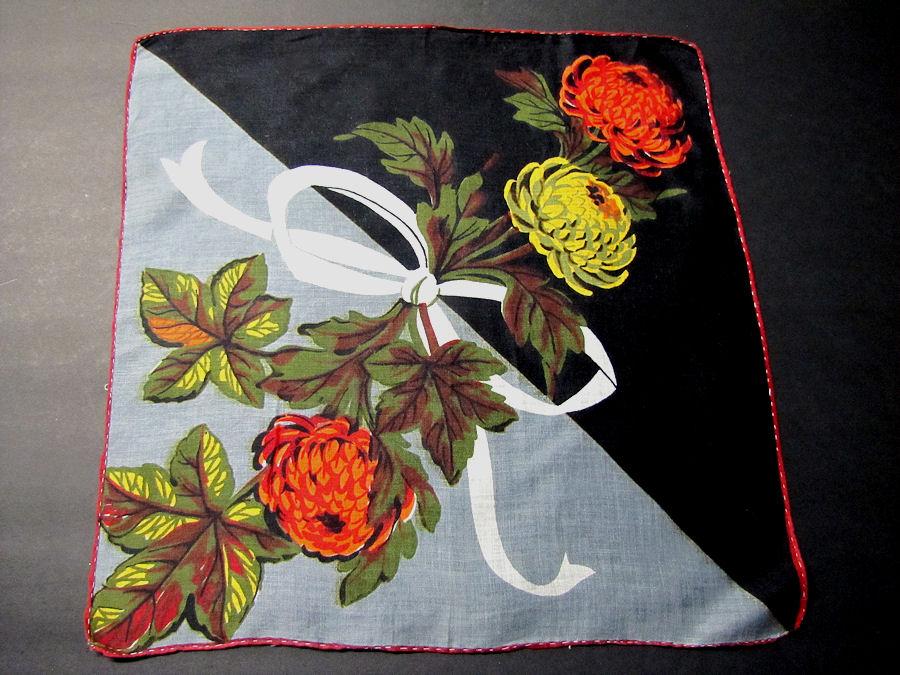 vintage antique floral print diagonal hanky