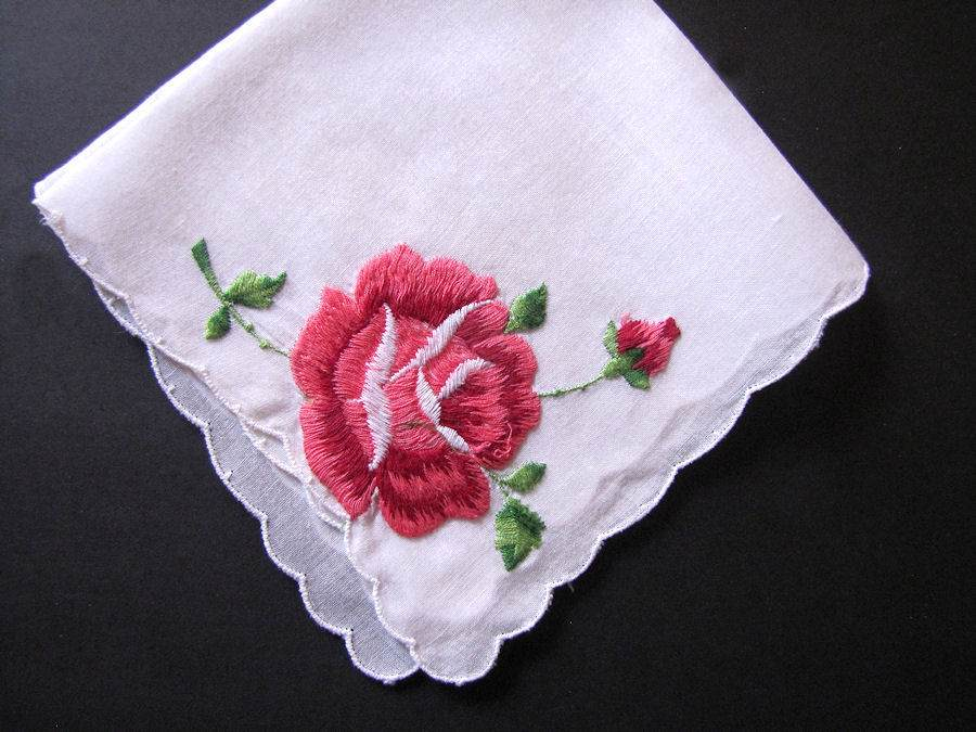 vintage antique embroidered rose hanky
