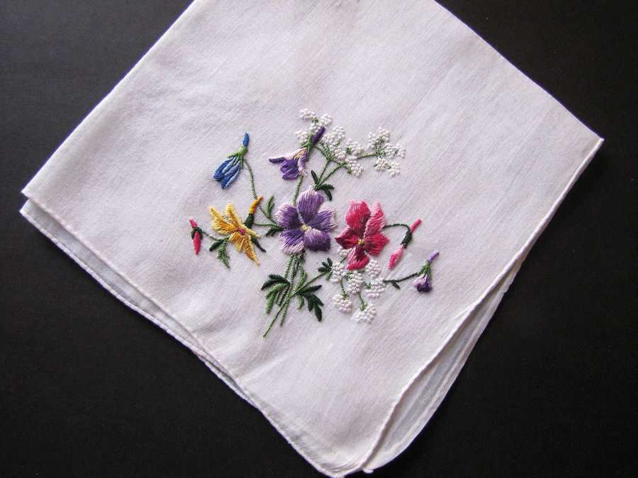 vintage antique embroidered flowers hanky