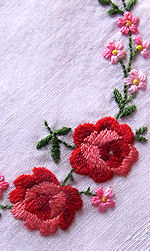 vintage embroidered roses ribbons hanky