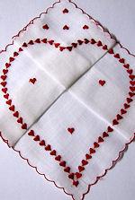vintage Valentine hanky folded heart