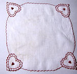 vintage valentine hanky roses and heart embroidered