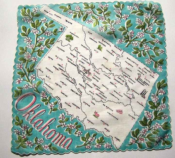 vintage  state map hanky Oklahoma