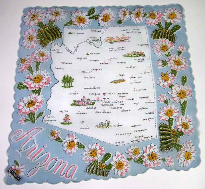 vintage  state map hanky arizona