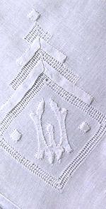 vintage handmade whitework monogrammed W hanky