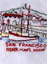 vintage Fisherman's Wharf San Francisco hanky     style=