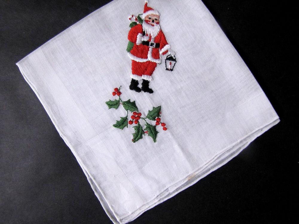 vintage antique Christmas Santa Claus hanky