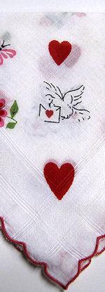 vintage valentine hanky red hearts lovebird