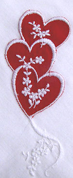 vintage Valentine hanky embroidered flowers and hearts