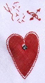 vintage Valentine hanky Cupid hearts