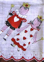 vintage child's valentine hanky king and queen of hearts