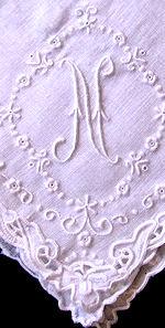 vintage handmade  hanky monogrammed N