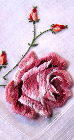 vintage embroidered stand-up rose hanky