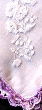 vintage embroidered white flowers lilies of the valley handmade lace hanky