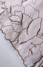 vintage handmade  embroidery hanky with Rose