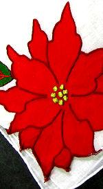 vintage handmade Christmas hanky poinsetta