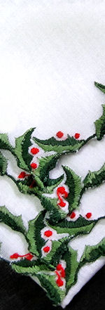 vintage christmas hanky holly