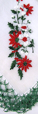 vintage Christmas poinsettas hanky handmade lace