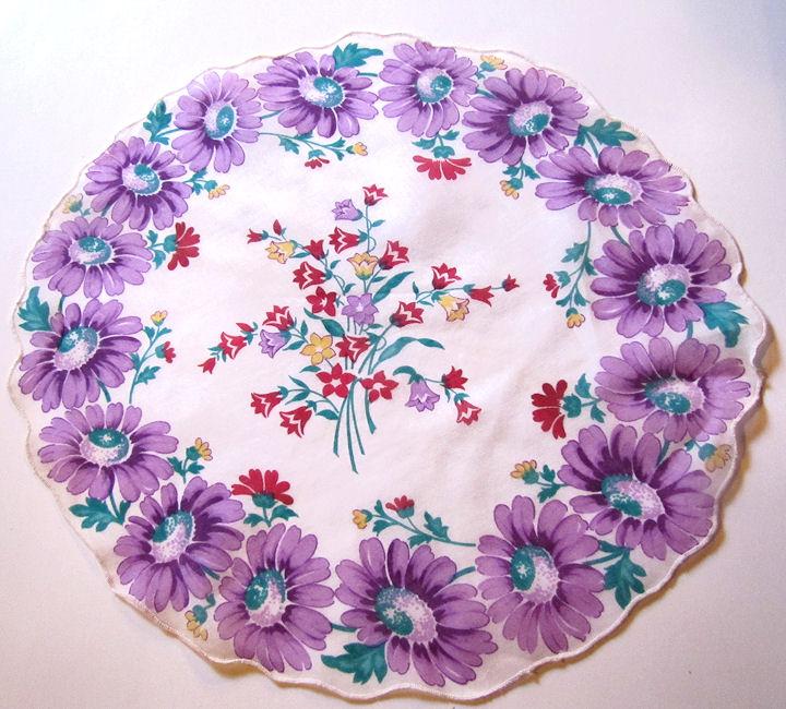vintage antique round floral print  hanky