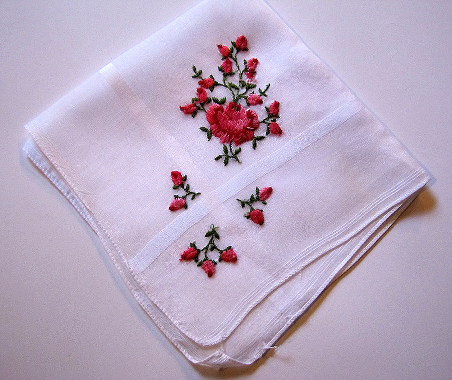 vintage antique embroidered roses hanky