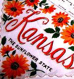 vintage state map hanky kansas