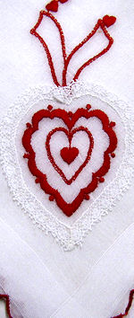 vintage Valentine hanky hearts and ribbons