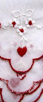 vintage valentine embroidered hanky