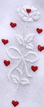 vintage valentine hanky embroidered hearts Rose