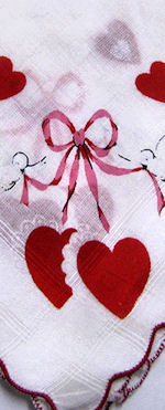 vintage valentine hanky hearts and love birds