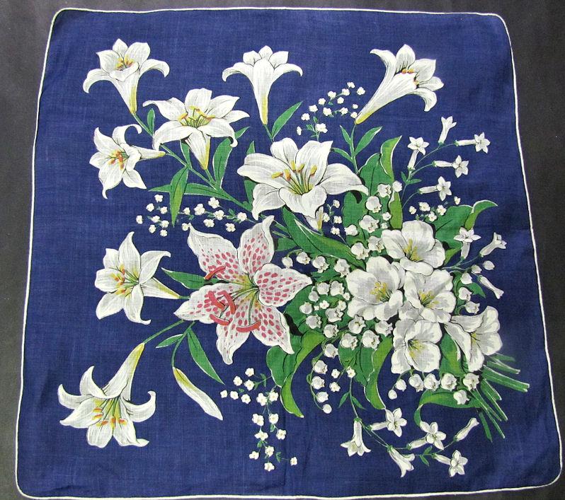vintage antique floral print lilies hanky