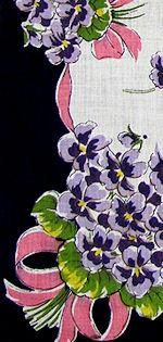vintage violets floral print hanky