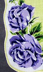 vintage floral print hanky purple roses