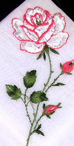 vintage embroidered hanky with rose