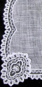 vintage antique wedding bride hanky with lace