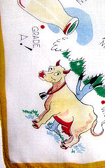 vintage child's hanky faarm cow