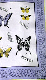 vintage designer hanky butterflies signed Faith Austin