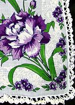 vintage handmade lace hanky floral print