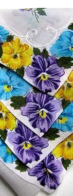 vintage yellow hanky pansies floral print