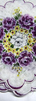 vintage floral print hanky purole roses