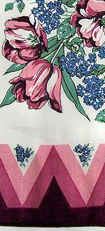 vintage floral print hanky red zig zag
