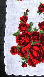 vintage floral print hanky red roses