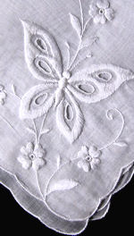 vintage whitework hanky embroidered butterflies